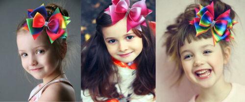 "50 BLESSING Good Girl Boutique 4.5/"" Rainbow Stylish Hair Bow Clip"