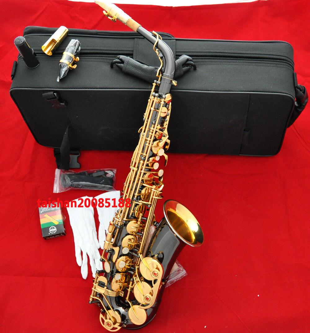 Prof. níquel negra CAMPANA DE oro Saxo Saxo Saxo Alto Eb Saxófono Grabado Con Boquilla De Metal Gratis  A la venta con descuento del 70%.