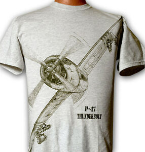P-47-Thunderbolt-WW2-WWII-Airplane-T-shirt-with-HUGE-print-on-front-Adult