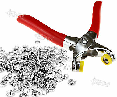Fastener Snap Craft Pliers + 100pcs 9. 5MM Studs Snaps Nickel Button Fixing Kit