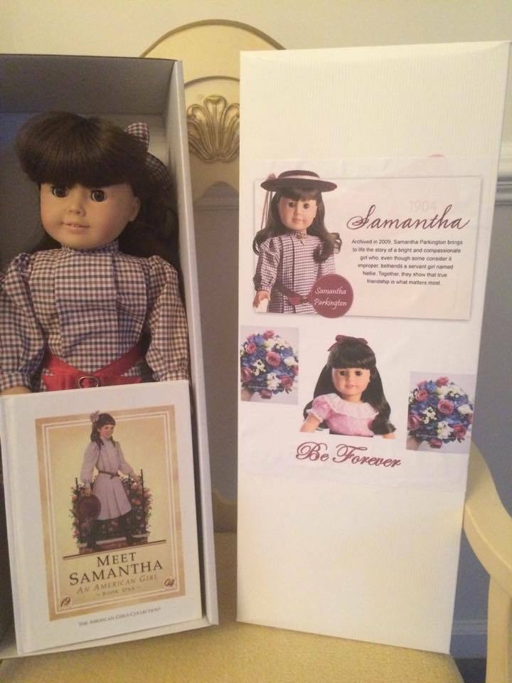 AG Pleasant Company Samantha  Box, Book, Be Forever Meet Outfit & Lacy Parasol