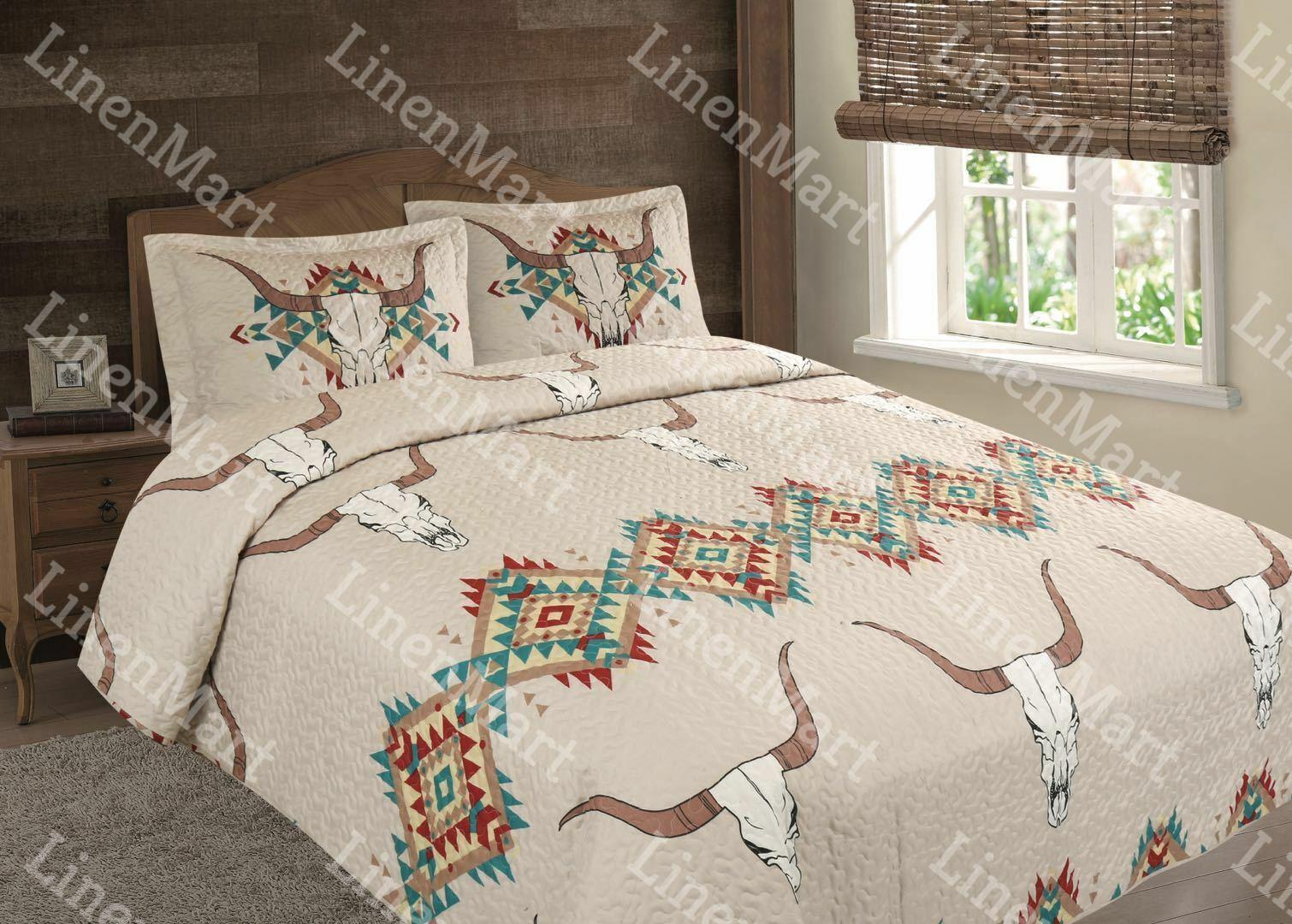 Southwest Aztec Rustic Skull Horn Quilt Coverlet Bedspread - 3 Piece Set
