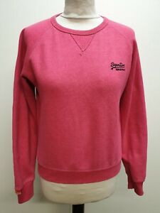 WOMENS-SUPERDRY-ORANGE-LABEL-PINK-BLUE-EMBLEM-CREW-NECK-COTTON-JUMPER-UK-S-8