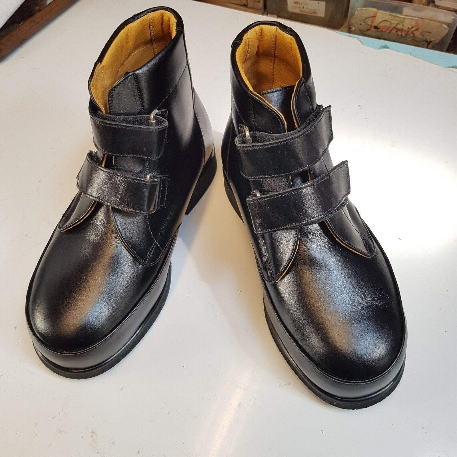 B1 Men Size 5 Black Leather Boots Wide & Deep Fit Comfy Medical Slip-On Shoes