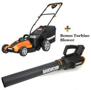 WORX WG959 2X20V Combo: Lawn Mower WG744 + FREE Turbine Leaf Blower WG547