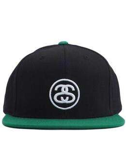 5319e7370c0562 100% BRAND NEW WITH TAGS STUSSY SS LINK SNAPBACK CAP HAT BLACK ...