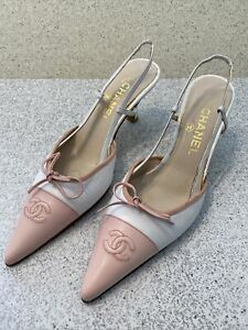 Chanel-Women-s-Shoes-Pink-amp-White-Leather-Sing-back-Heels-Size-39-5-Gorgeous