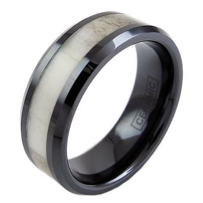 Black Hi-Tech Ceramic Deer Antler Inlay Men's Wedding Band Ring - Engravable