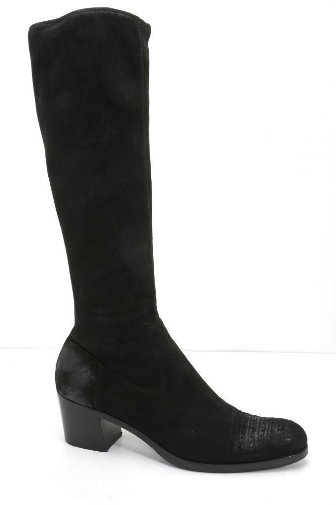 PRADA Womens Black Suede Brogue Block-Heel Knee-High Elastic Boots 10-40 NEW