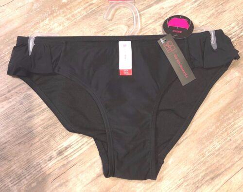NWT No Boundaries Women/'s Black Swimwear Bikini Bottom Side Ruffle Size S 3-5