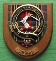 Old Scottish Carved Oak Clan McBeth Coat  Arms Plaque Crest Shield