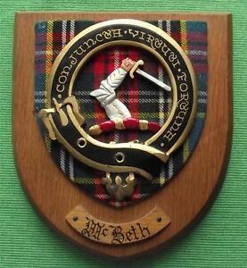 Old-Scottish-Carved-Oak-Clan-McBeth-Coat-Arms-Plaque-Crest-Shield