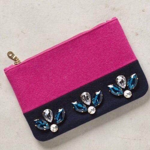 Nieuwe Makeup Accessory Pink Zip Anthropologie Bag Gem Felt Clutch Jeweled Pouch Ybv76gfy