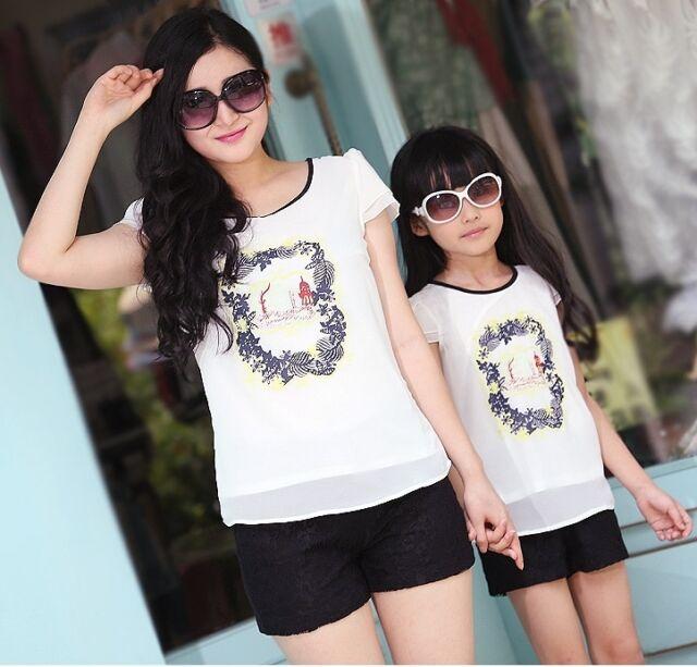 New Family Set Summer Girls women sets Floral Chiffon T Shirts + Lace Pants 2pcs