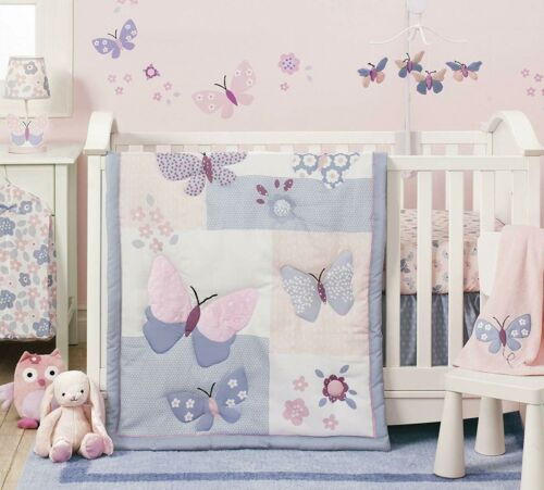 NEW Bedtime Originals Baby Cot 3pc Butterly Quilt Set Girls Purple Butterflies