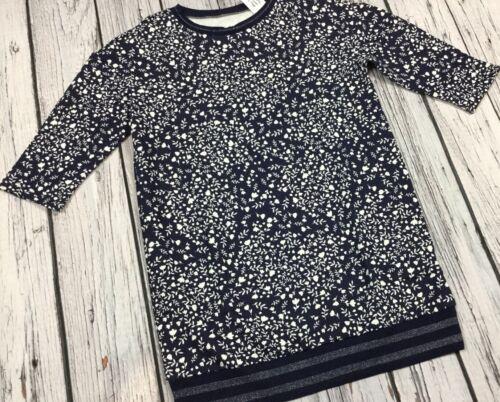Gap Girls Small 6-7 Navy Blue Floral Lightweight Sweatshirt Dress Nwt