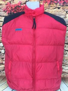 Columbia Sportswear Mens Lightweight Puffer Down Vest Winter Red Black Size L