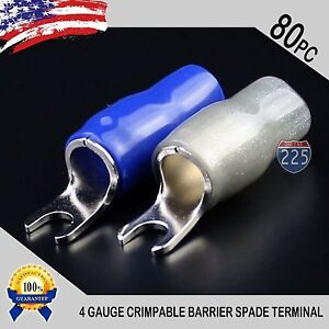 "4 Gauge Platinum Spade Fork Terminal 40pcs Wire Crimp Insulated 5//16/"" connector"