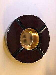 Cigar-Ashtray-4-Cigar-Cherry-Finish-Brass-Bowl-Insert-7-034-Round-NEW
