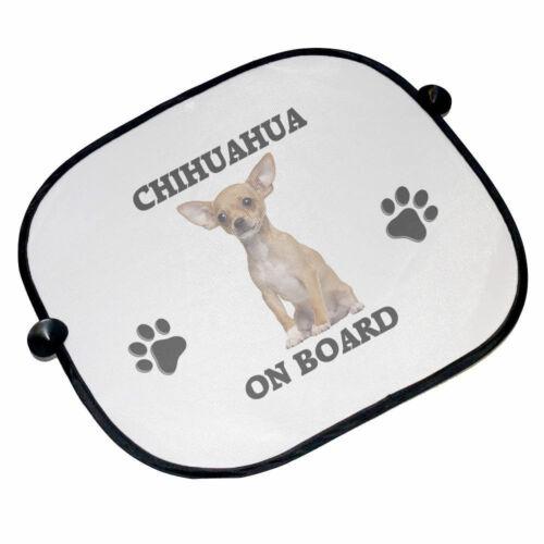 Brand New 45cm x 36cm Chihuahua On Board Car Sun Shades
