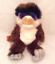 "Animal Alley Blue Face Monkey Long Hair Stuffed Animal 2000 17"" Brown Grey White"