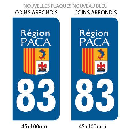 REGION 83 PACA 2 STICKERS AUTOCOLLANT PLAQUE IMMATRICULATION DEPARTEMENT