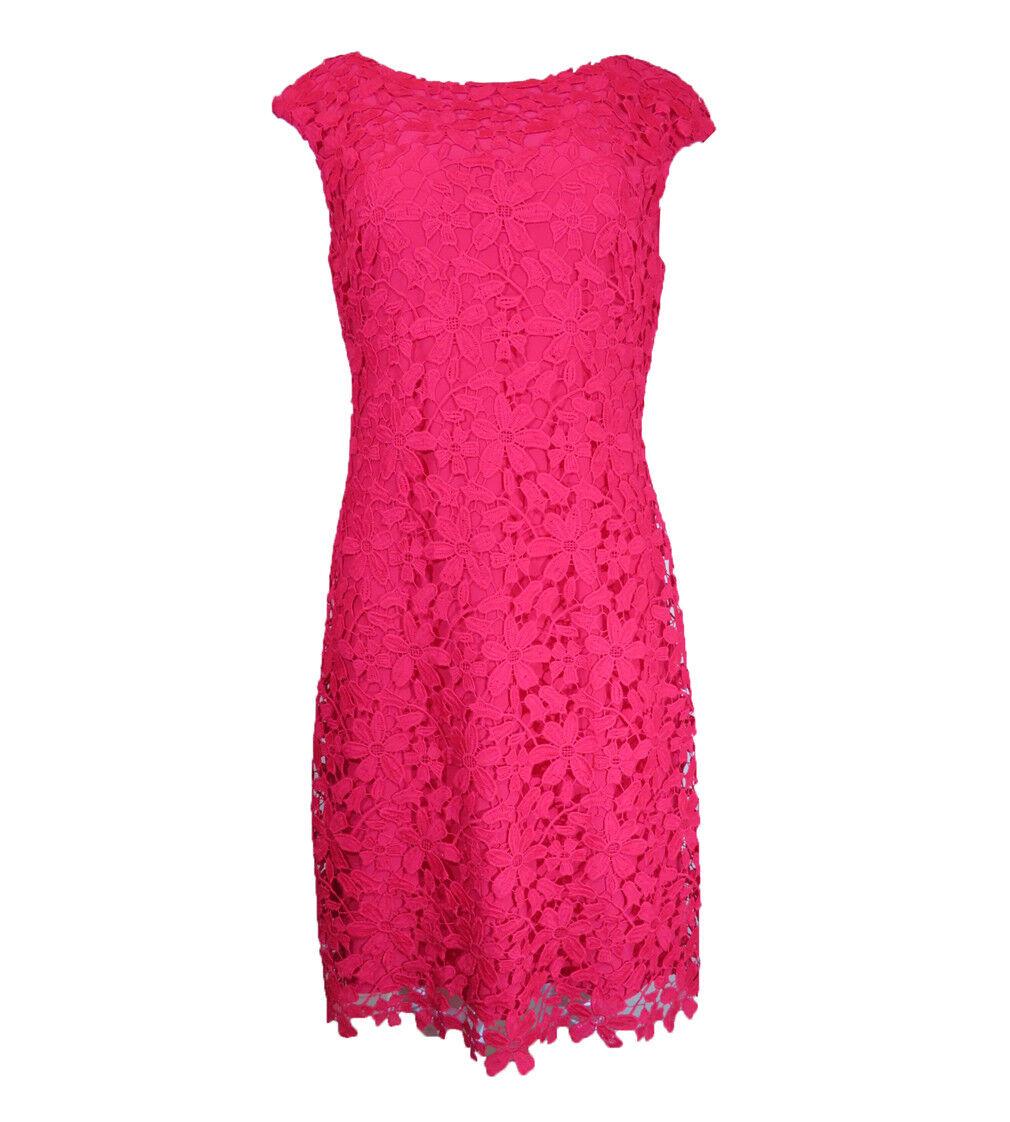 RALPH LAUREN Lauren Womens Crochet Pattern Casual Dress, Red