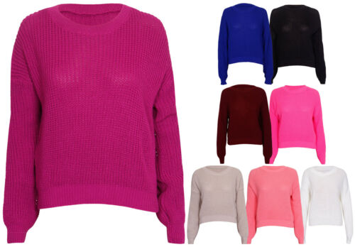 Womens New Long Sleeve Chunky Ladies Knitted Sweater Round Neck Short Jumper Top
