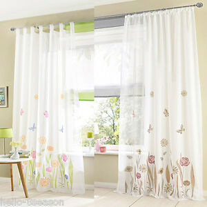 1PC Tab Top Floral Print Flower Tulle Curtains