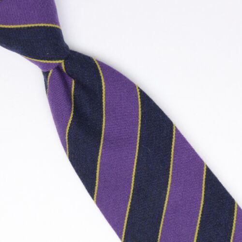 Josiah France Mens Wool Silk Necktie Navy Purple Yellow Repp Stripe Weave Tie