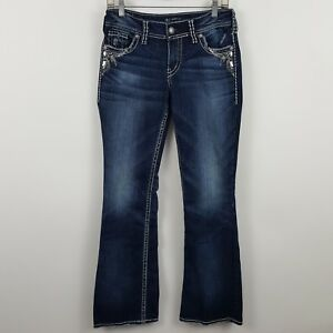 Silver-Suki-Boot-Cut-Women-039-s-Dark-Wash-Blue-Jeans-Size-28-x-32