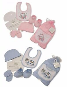 1879b3e4624 4 Piece Baby Boy Girl Gift Set 1 Pair Baby Hat Bib Booties Mittens 0 ...