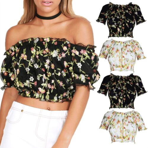 Womens Ladies Ruffle Frill Off Shoulder Floral Lace Embroidery Bardot Crop Top