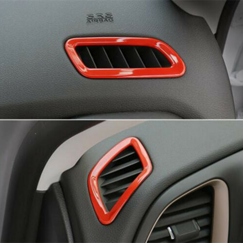 2Pcs ABS Red Dashboard Air Vent Trim Cover For Jeep Renegade 2015-2018