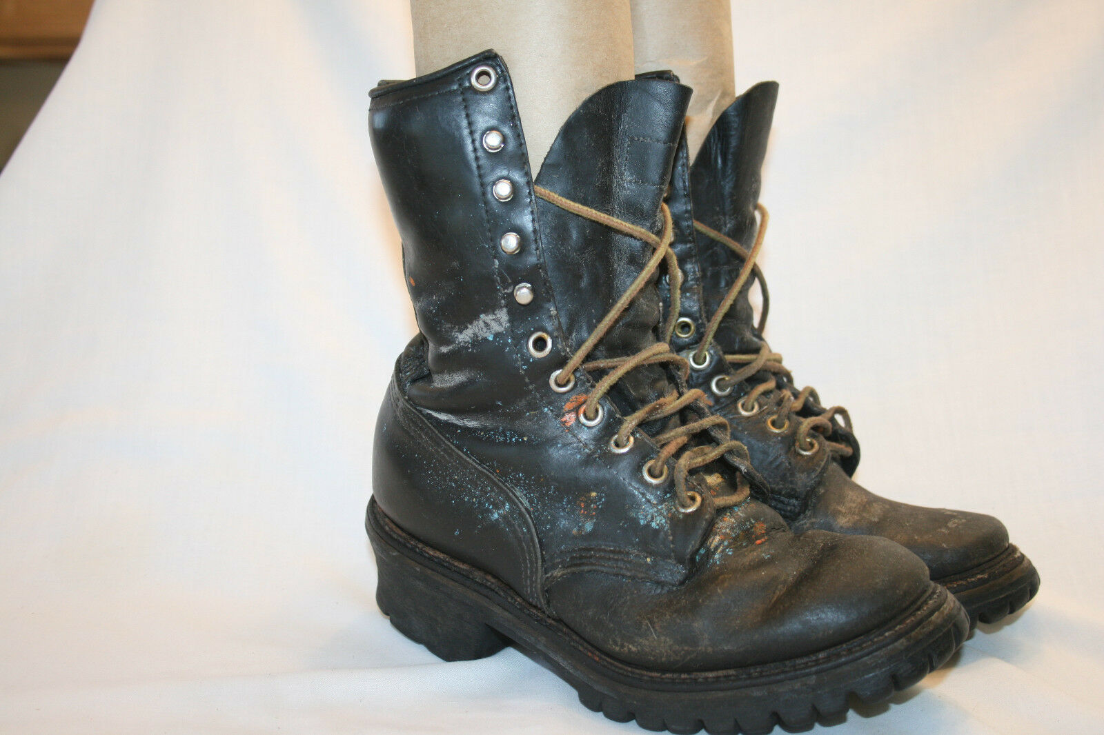 RED WING VINTAGE USA   Men's SZ 5.5 C Black Leather  Logger Work Boots Art