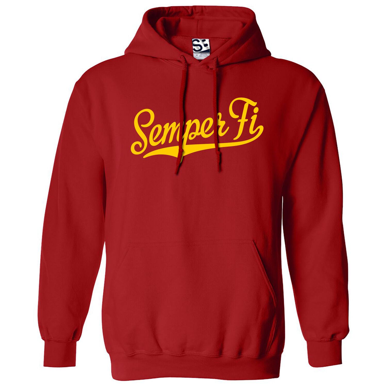 Semper Fi Script & Tail HOODIE - Hooded US Marines Fidelis Sweatshirt All Farbes