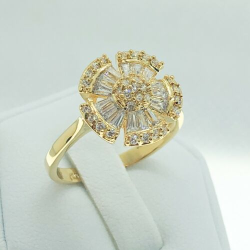 R5671 Women Fashion Jewelry 18K White Yellow Gold Statement Promise Cluster Ring