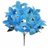 12 Tiger Lily Aqua Blue Silk Wedding Flowers Bush Bridal Centerpieces Decor