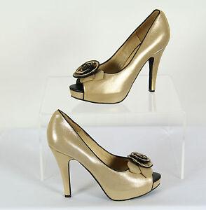 Bronze Gold Peep Toe Shoes