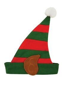 ELF HAT WITH PIXIE EARS IN RED AND GREEN CHILD SIZE FOR CHRISTMAS FANCY DRESS.