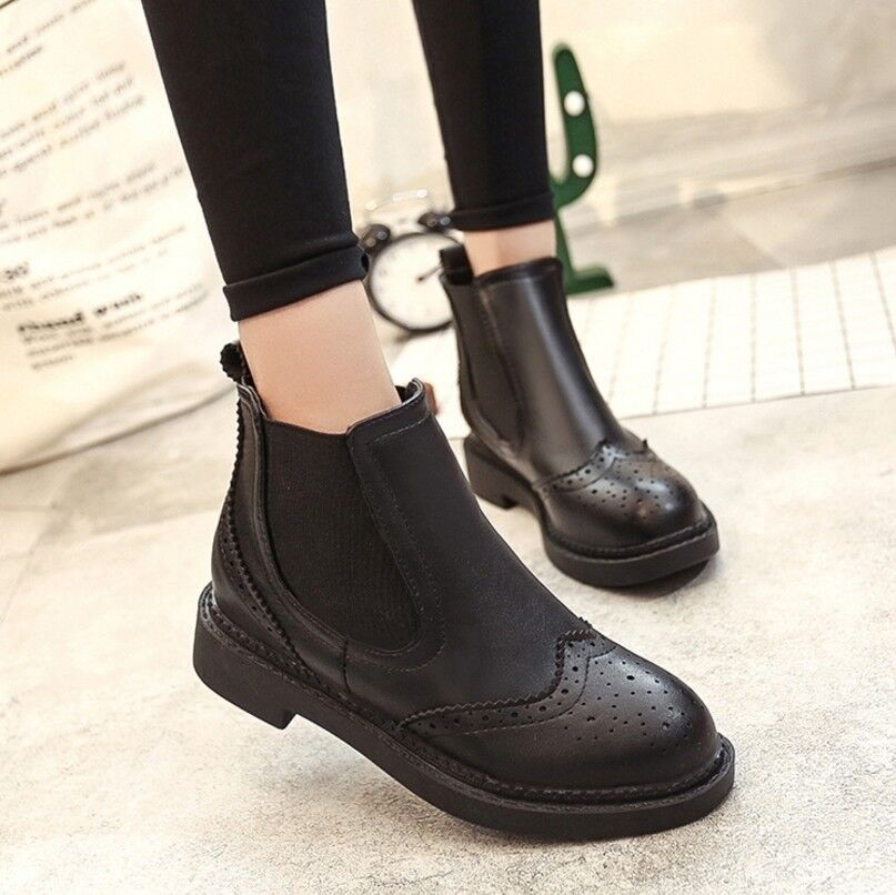 Vintage Women's Chelsea Boots Chunky Heels Round Toe Brogues Bootie Casual shoes