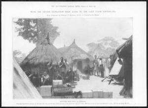 1898-Antique-Print-AFRICA-Hinterland-Dekrupe-Refugees-Expedition-Huts-292