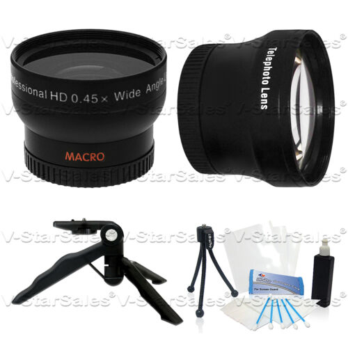 2X Telephoto Lens for Canon HF11 HF10 HF100 HG21 HR10 37mm 0.45X Wide Angle