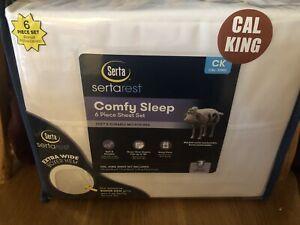 Serta Comfy Sleep Cal King Sheet Set. 6 Pc Set . White . Condition Is New