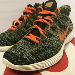 5fdfcc810882 Nike Mens Lunar Flyknit Chukka Sequoia Orange Green Size 11 554969 ...