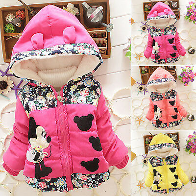 466de835c Kid Girl Disney Minnie Mouse Hooded Jacket Coat Cartoon Winter Warm ...