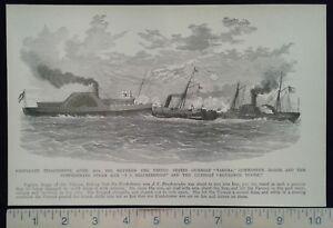 1896-Civil-War-Print-Naval-Battle-US-Gunboat-034-Verona-034-CSA-Steam-Ram-and-Gu