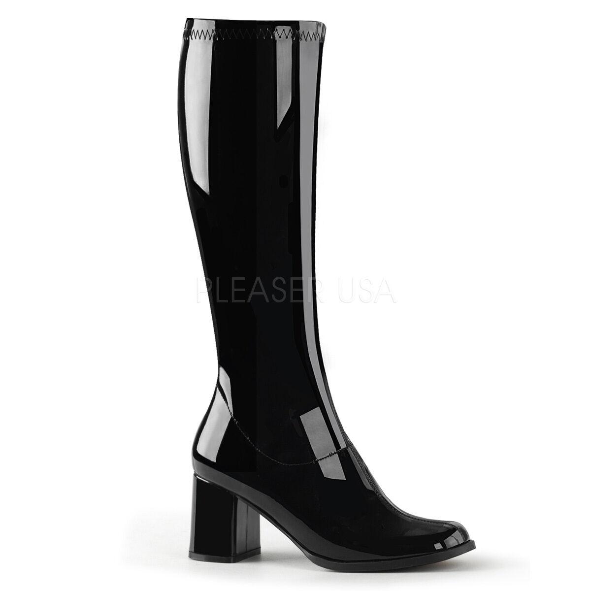 Pleaser Funtasma Gogo - 300 Negro Patente Elastizado 70s Discoteca Disfraz Rodilla Botas