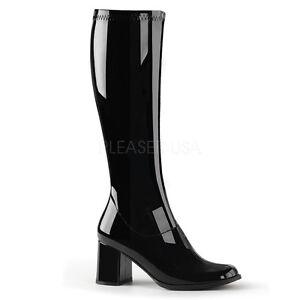 PLEASER-FUNTASMA-GoGo-300-Black-Patent-Stretch-70s-Disco-Fancy-Dress-Knee-Boots