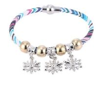 SNOWFLAKE DANGLE CHARM & ROSE GOLD BEAD MAGNETIC STRIPE BRACELET